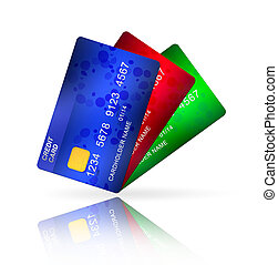 bunch of credit cards - three credit cards isolated on white...