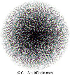Confetti Vortex - Halftone dots and a spiral pattern are...