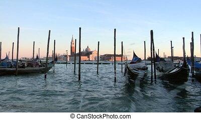 venice gondola 06 - Gondolas moored in San Marco, Venice...