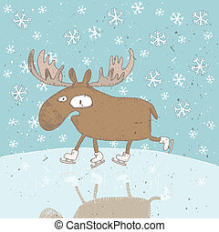 Funny Moose Ice-Skating Christmas Card - Funny Christmas...