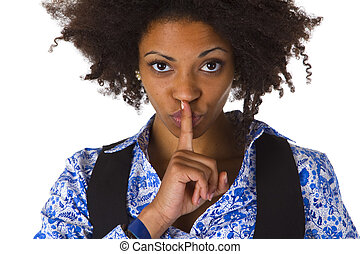 Young afro american saying shhh- be quiet - isolated on...