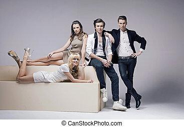Portrait of four very attractive friends - Portrait of four...