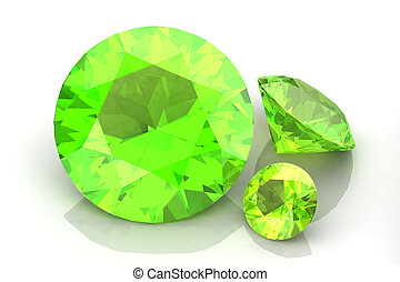 Peridot on white background.3D render