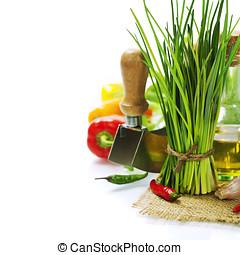 à, grono, Świeży, Szczypiorek, warzywa