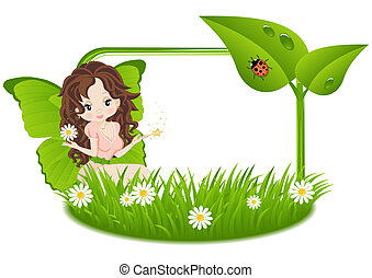 greeting card with fairy - greeting card with a fairy and a...