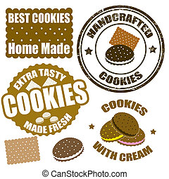 Set of cookies stamps and labels - Set of cookies grunge...