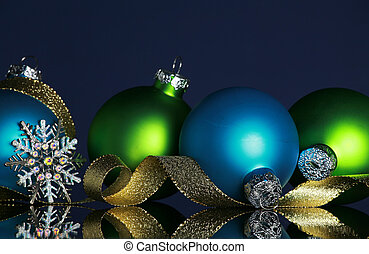 Christmas decorations - Christmas ornaments and gold ribbon...