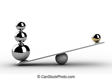 Balancing balls on wooden board