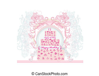 birthday card with cake over vintage background vector