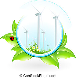 Wind Power Plant Icon with Leaves and Ladybird
