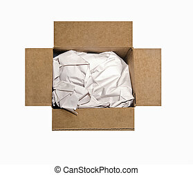 Empty Box With Packing Paper - An open cardboard box filled...