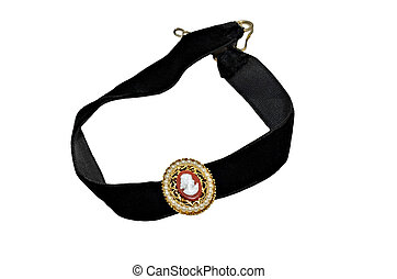 Cameo Necklace - A black velvet necklace with cameo pendant.