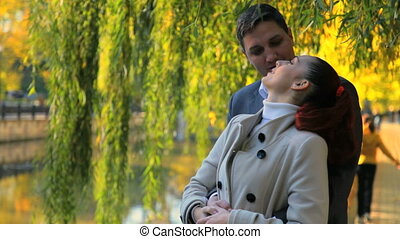 Autumn romantic couple - romantic couple embracing in autumn...