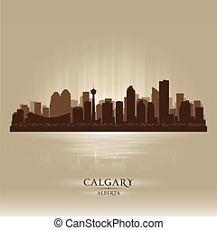 Calgary Alberta skyline city silhouette Vector illustration