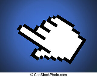 Hand Icon - computer screen cursor on a blue background