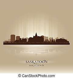 Saskatoon Saskatchewan skyline city silhouette. Vector...
