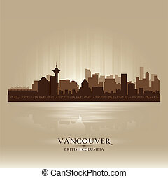 Vancouver British Columbia skyline city silhouette. Vector...