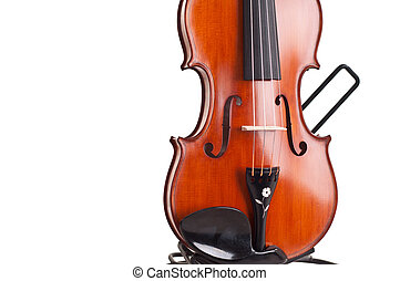 Close up of a violin isolated