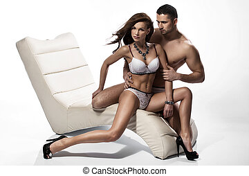Stunning brunette lady touched by her husband - Stunning...