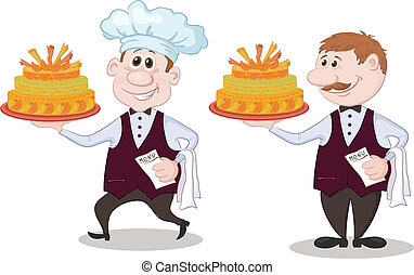 Cook and waiter with holiday cakes