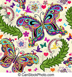 Seamless valentine pattern with colorful vintage butterflies...