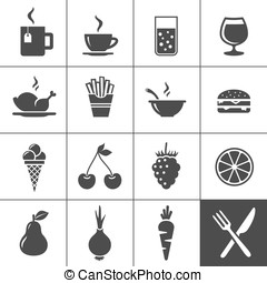 Food and drinks icon set. Simplus series - Food and drink...