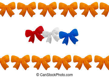 crowns in the color red, white, blue and orange, symbol of...