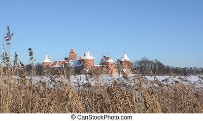 castle lake reed winter - Trakai castle fortification...