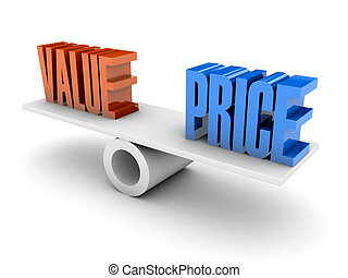 Value and Price balance Concept 3D illustration