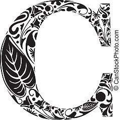 Floral C - Floral initial capital letter C