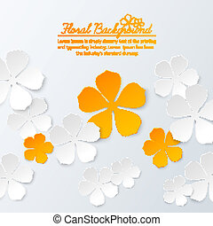 Paper floral background with place for text. Vector...