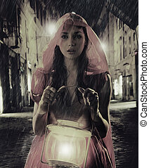 Black-white photo with colorful lady with lantern -...