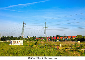 Electricity pylons - A line of electricity pylons in the...