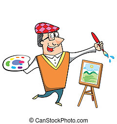Cartoon Artist with Paintbrush and Canvas Easel - Cartoon...