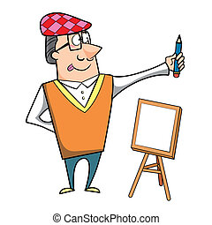 Cartoon Artist with Pencil and Canvas Easel