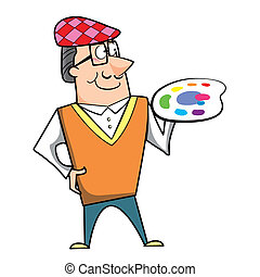 Cartoon Artist with Paint Palette - Cartoon artist with...