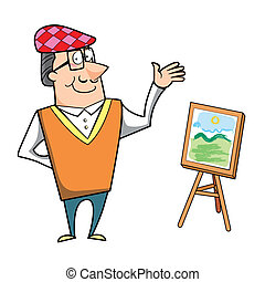 Cartoon Artist with Painting Canvas Easel