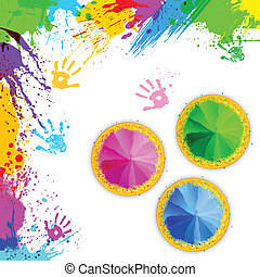 Bowl full of colorful Gulal for Holi background -...