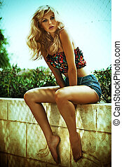 Summer photo of amazing blonde woman - Summer photo of...