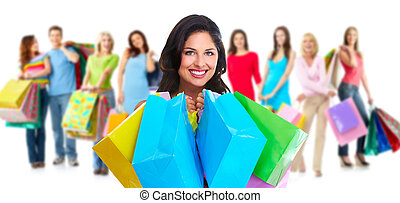 Group of shopping woman.