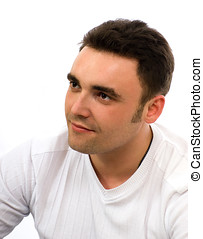 casual unshaved man isolated over white background -...