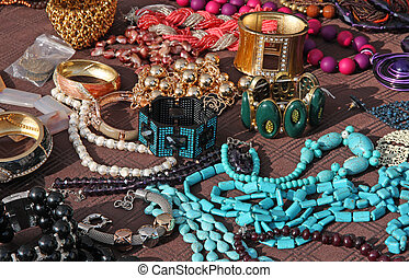 Jewelry necklaces and vintage bracelets for sale at flea...