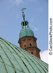 oxidized copper roof in green and high tower Basilica...