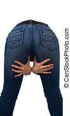 female ass with hands - young girl in blue jeans rear view