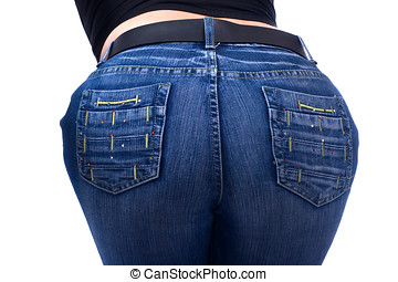 back view - young girl in blue jeans rear view