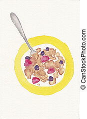 hand painted watercolor of bowl of cereal