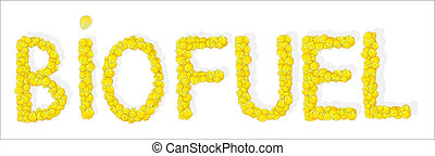 Biofuel inscription - sign biofuel from rapeseed petals