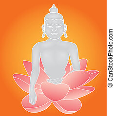 Budha lotus - vector illustration of Budha statue sitting in...