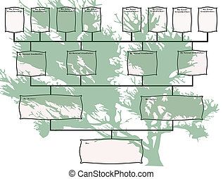 Family Tree Chart with Green Tree - Family tree chart with...