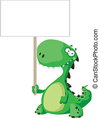 green dinosaur with blank sign - illustration of a green...